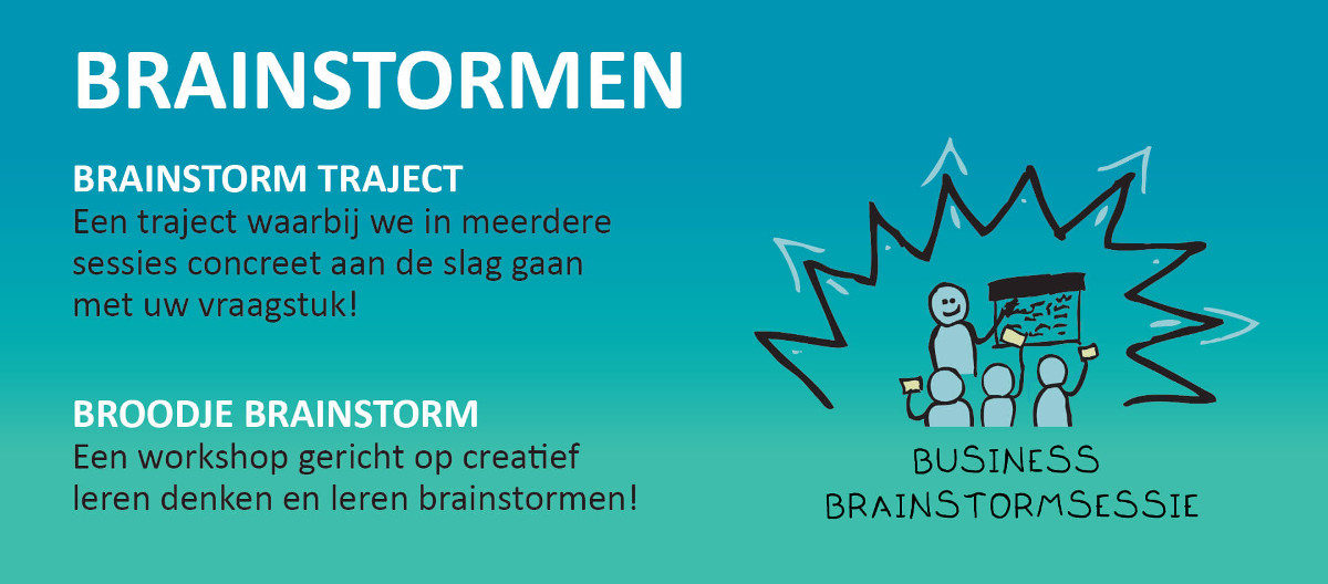 Brainstormen, brainstorm traject, broodje brainstorm